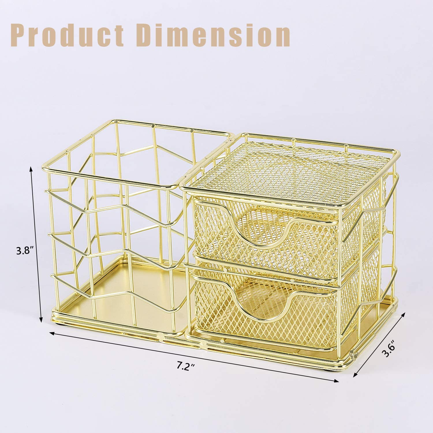 3 Compartments Pen Holder and 2 Sticky Note Holders Simmer Stone Desk Organizer with Drawers Gold Wire Desk Stationery Caddy for Desk Supplies and Accessories