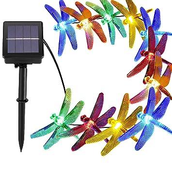 [21ft 30 Led] Solar Outdoor Dragonfly Lights \ Outside String Lighting , 8  Mode
