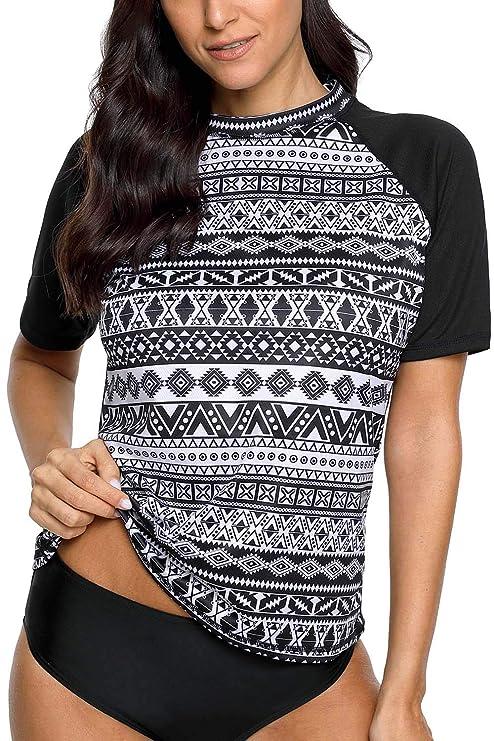 c1dc13528 V FOR CITY Women's Short Sleeve UV Rashguard Shirt Athletic UPF 50  Swimsuits Top