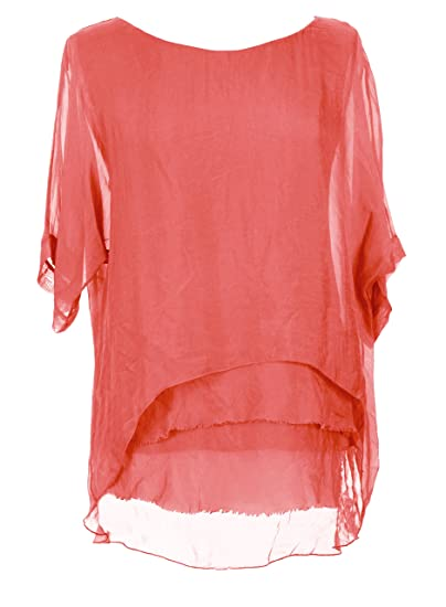 Asymmetric Hem Ruffle Sleeve Coral Dress-Plus Size