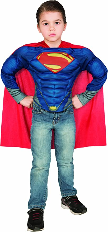 Super Hero Muscle Top Shirt Cape Justice Man Batman Blue Steel