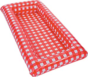 Fun Express Red Gingham Inflatable Buffet Cooler - Over 4 feet Long - Party Supplies