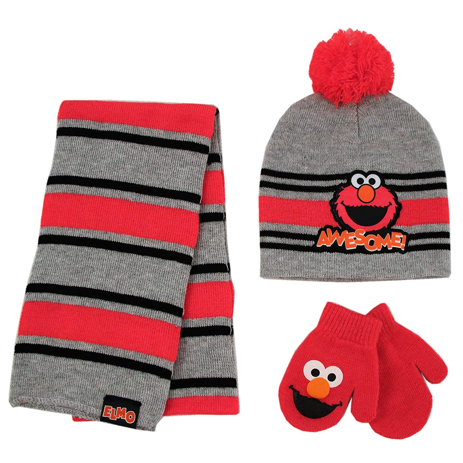 Hat and Mitten Set for Toddler Boys Age 2-4 Grey//Red Sesame Street Elmo Scarf