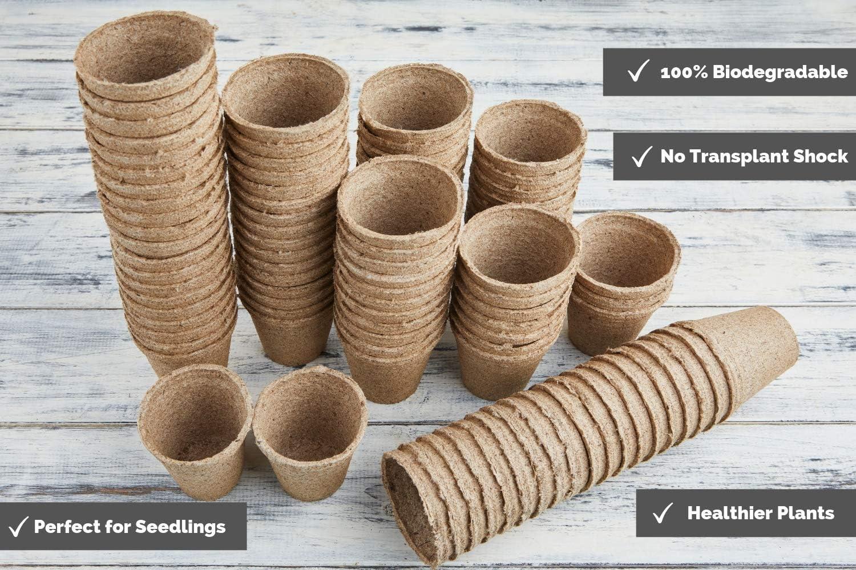 Funmo-Semilleros biodegradables,8cm macetas para Flores Planta ...