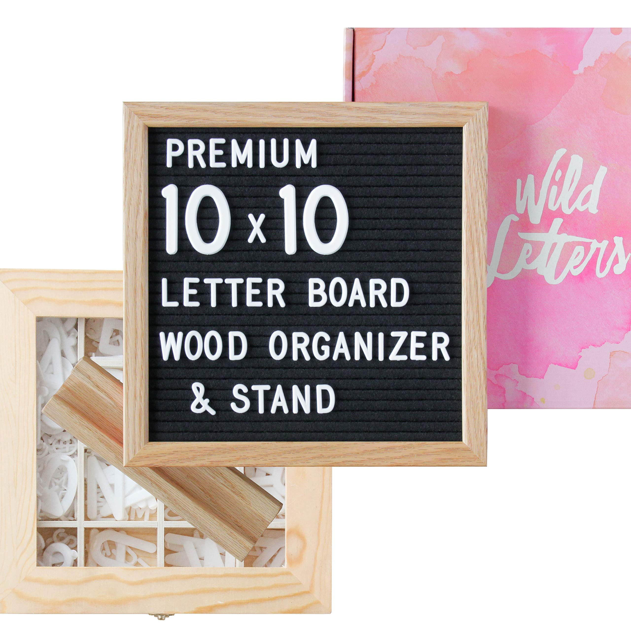 Wild Letters Letter Board 10x10 | +Letter Organizer +Pre-Cut Letters +Stand | (Black) Felt Letter Board,  Letter Board Letters, Felt Letter Board Accessories, Message Board with Letters, Changeable