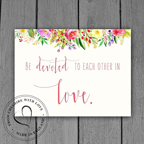 Bible Verse Wedding Print Be Devoted To Each Other In Love