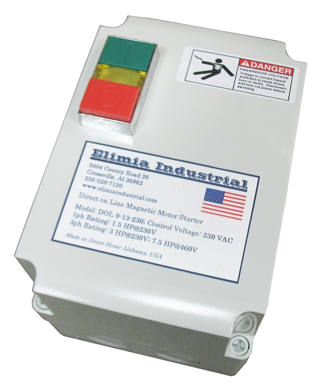 230V Elimia Enclosed Magnetic Motor Starter Made in USA 1.5-2 HP Nema 4X 5.5-8 Amp Overload