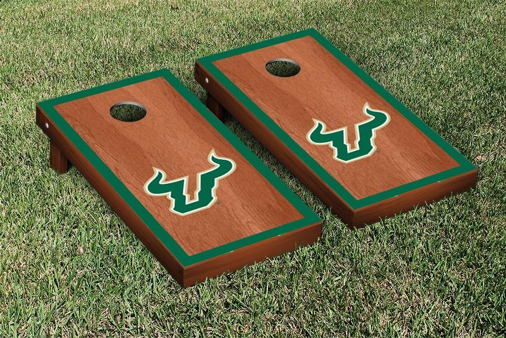 South Florida USF Bulls Cornhole Game Set Rosewood Border Version