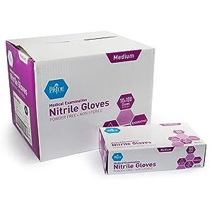 MedPride Powder-Free Nitrile Exam Gloves, Medium, Case/1000 (10 Boxes of 100)