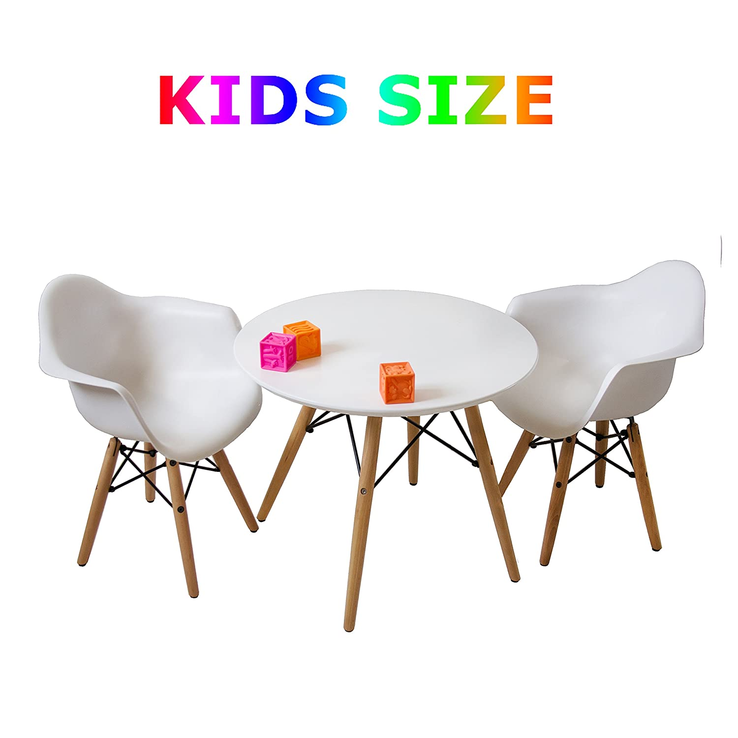 Buschman Set of White Kids Dining Room Mid Century Wooden Legs Table and Two Chairs, Armchairs