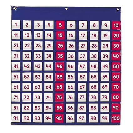Learning Resources- Hundred Pocket Chart Panel de Cien Bolsillos, Color (LER2208)