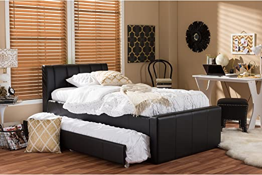 Amazon Com Baxton Studio Cosmo Modern And Contemporary Faux Leather Trundle Bed Twin Black Furniture Decor