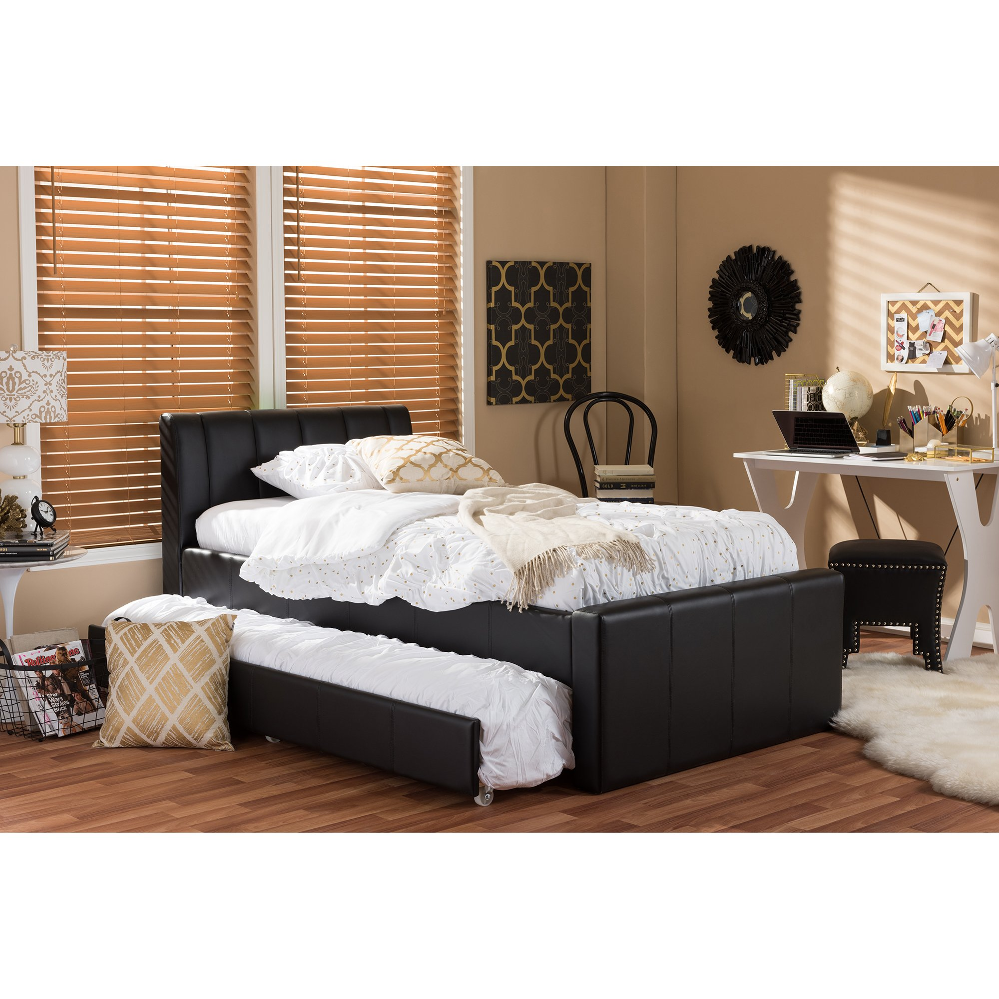 Baxton Studio Cosmo Modern and Contemporary Faux Leather Trundle Bed, Twin, Black by Baxton Studio