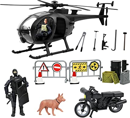 Click N Play Military SWAT Elite Unit Rescue Helicopter 26 Piece Set Wi?