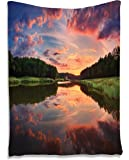 Forest Tapestry Park Decor by Ambesonne, Scenic Picture with Reflection and Sunset Landscape Picture, Bedroom Living Kids Girls Boys Room Dorm Accessories Wall Hanging Tapestry, Blue Green Orange
