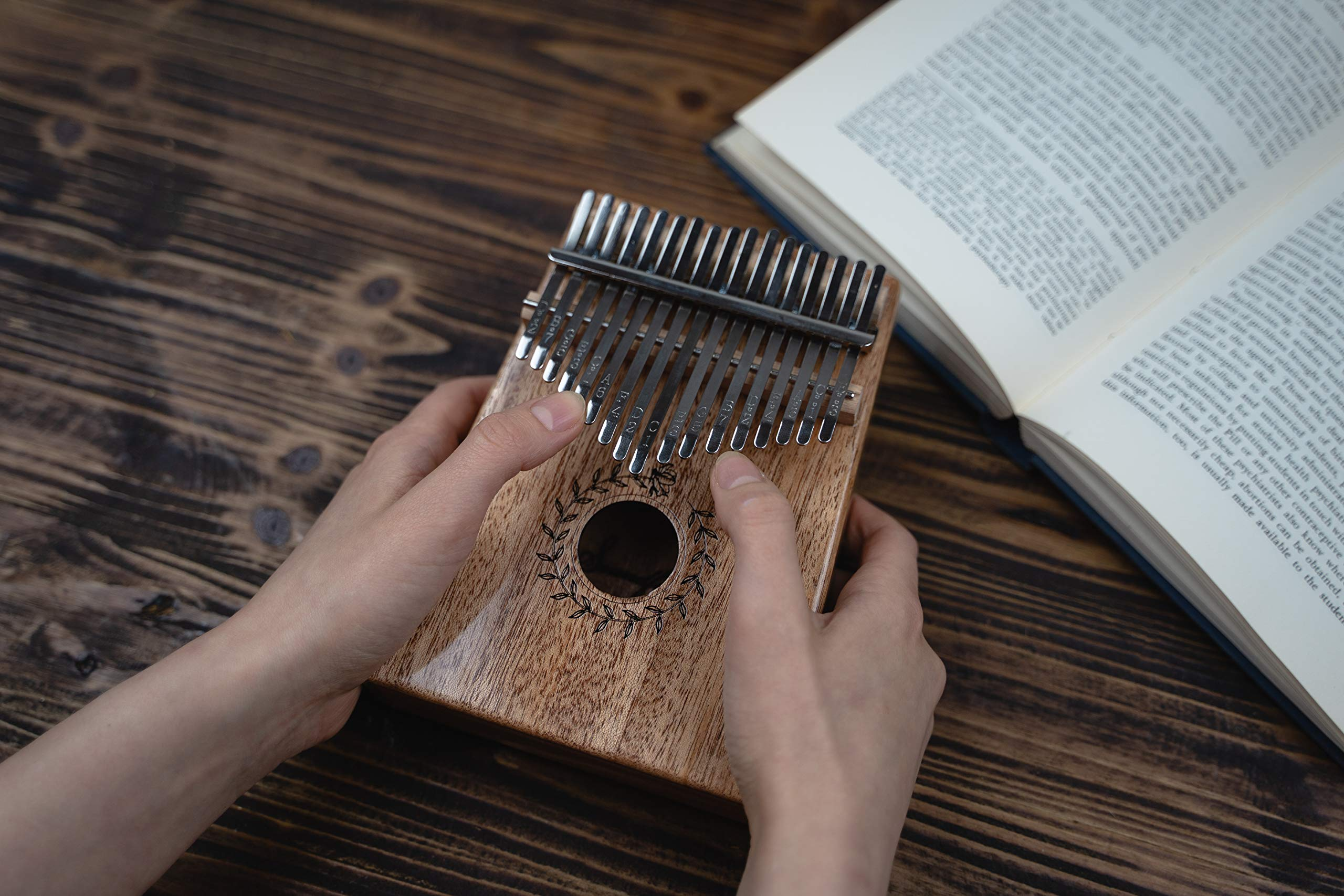 Soundful 17 Key Kalimba Thumb Piano, Solid Mahogany Body Finger Piano, Professional Mbira Musical Instrument with Tuning Hammer and Protective Case by Soundful (Image #6)