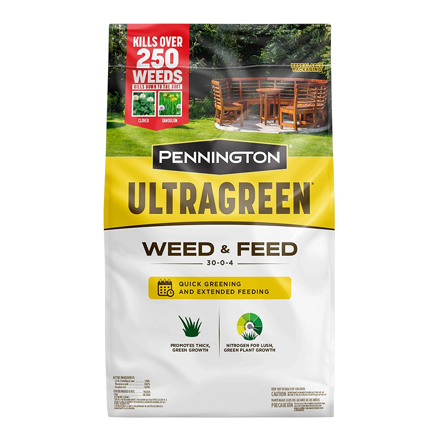 Pennington 100536600 UltraGreen Weed & Feed Lawn Fertilizer, 12.5 lb, Covers 5000 sq'