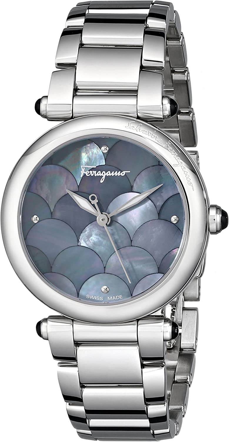Ferragamo Women's FI2020013 Idillio Round Stainless Steel Mother-of-Pearl Mermaid Watch