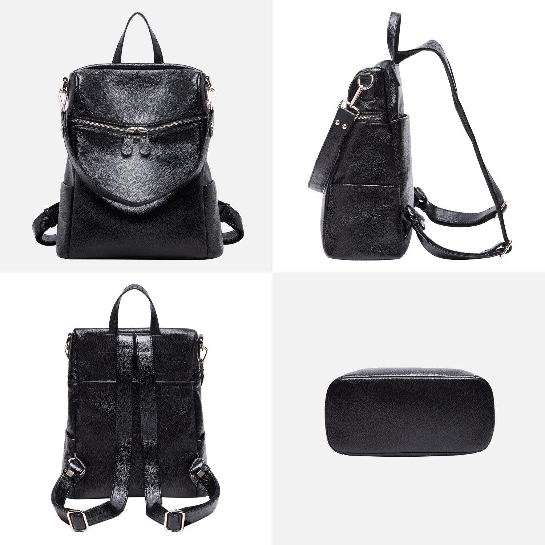 BOYATU Convertible Genuine Leather Backpack Purse for Women Fashion Travel Bag (Black) by BOYATU (Image #3)