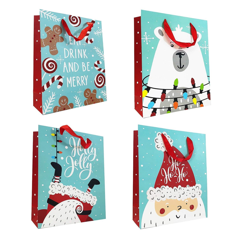 Allgala 12-Pack Christmas Gift Bags, 13' Glitter 13 Glitter