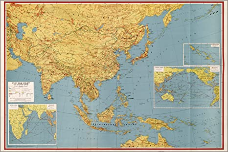 Map Of Asia After Ww2.Amazon Com 16x24 Poster Wwii Map Of Southeast Asia Japan China