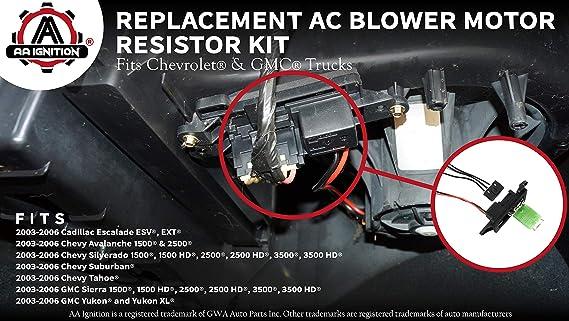 amazon.com: ac blower motor resistor kit with harness - replaces 89019088,  973-405, 15-81086, 22807123 - compatible with chevrolet, gmc & cadillac  vehicles - silverado, tahoe, suburban, avalanche, sierra, yukon: automotive  amazon.com