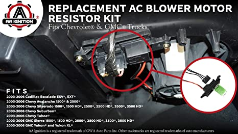 amazon com ac blower motor resistor kit harness replaces amazon com ac blower motor resistor kit harness replaces 89019088 973 405 15 81086 22807123 fits chevy silverado tahoe suburban avalanche