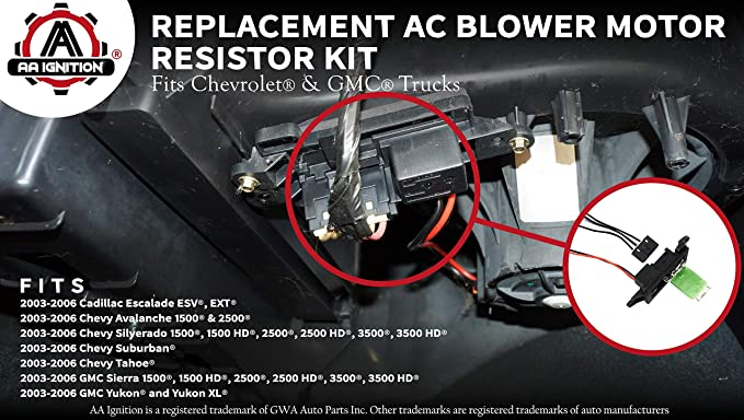 ac blower motor resistor kit with harness replaces 89019088, 973 405, 15 81086, 22807123 fits chevy silverado, tahoe, suburban, avalanche, gmc blower motor problems auto repair