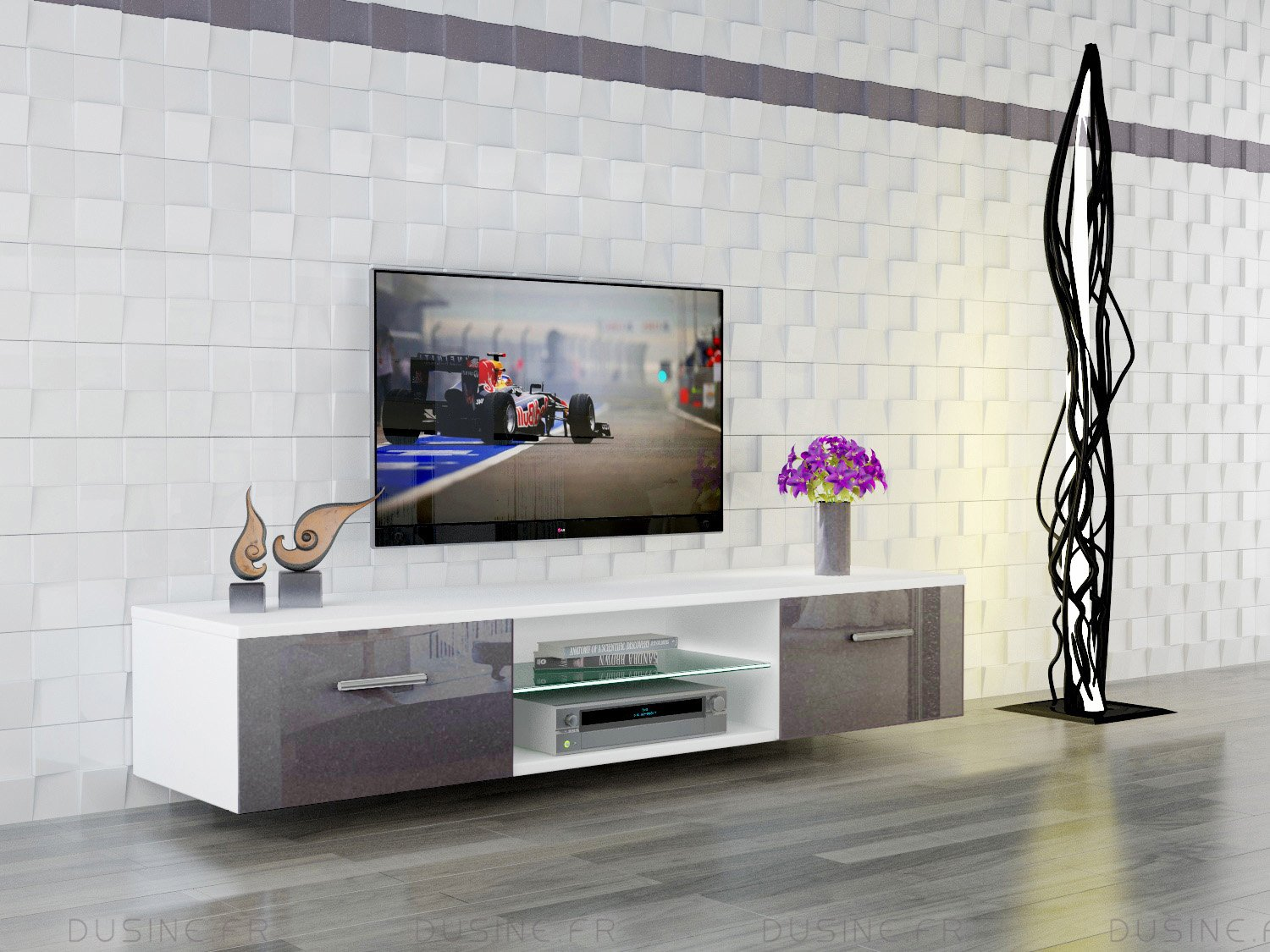 Mueble De Tv Suspendido Giuliano En Color Gris Lacado Y Blanco  # Muebles Suspendidos Para Tv