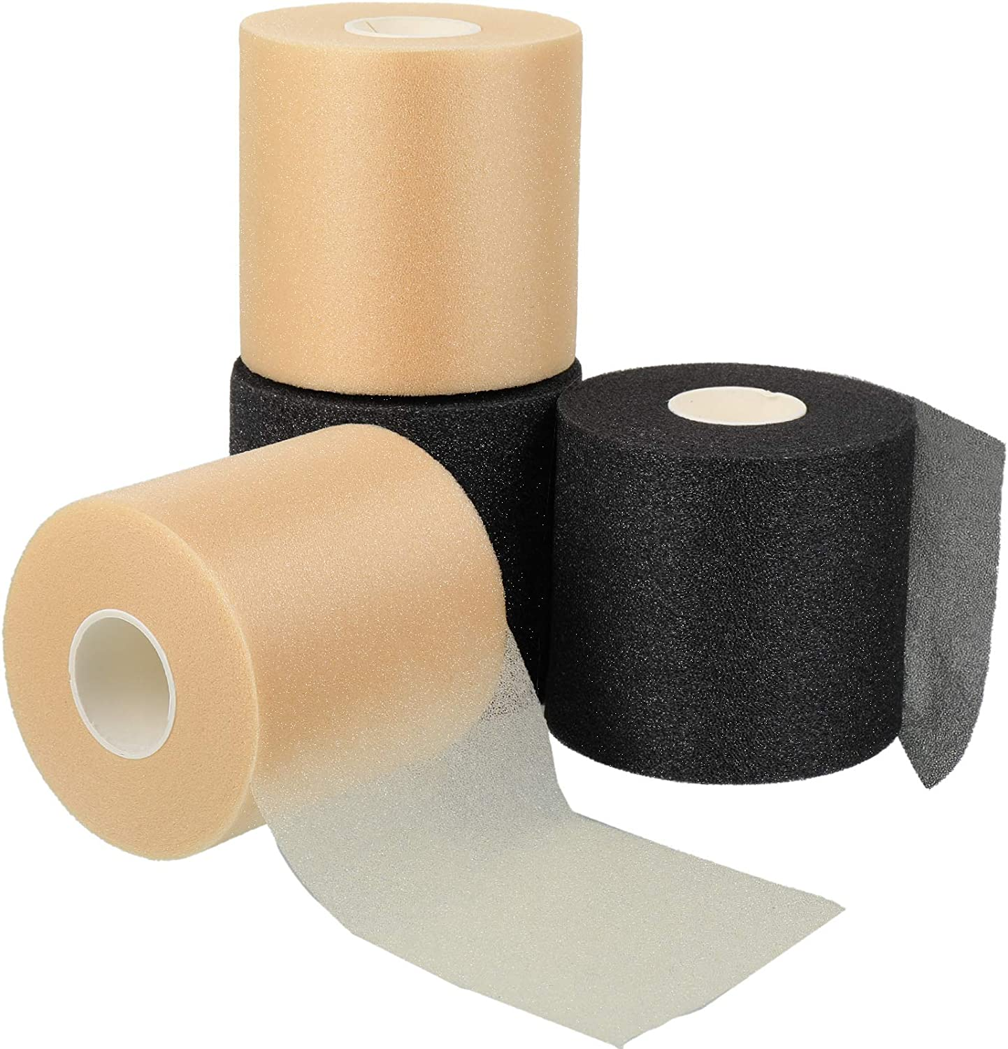 2.75 x 30 Yards Nuanchu 4 Pieces Foam Underwrap Athletic Foam Tap Sports Pre-wrap Athletic Tape for Ankles Wrists Hands and Knees in Beige and Black
