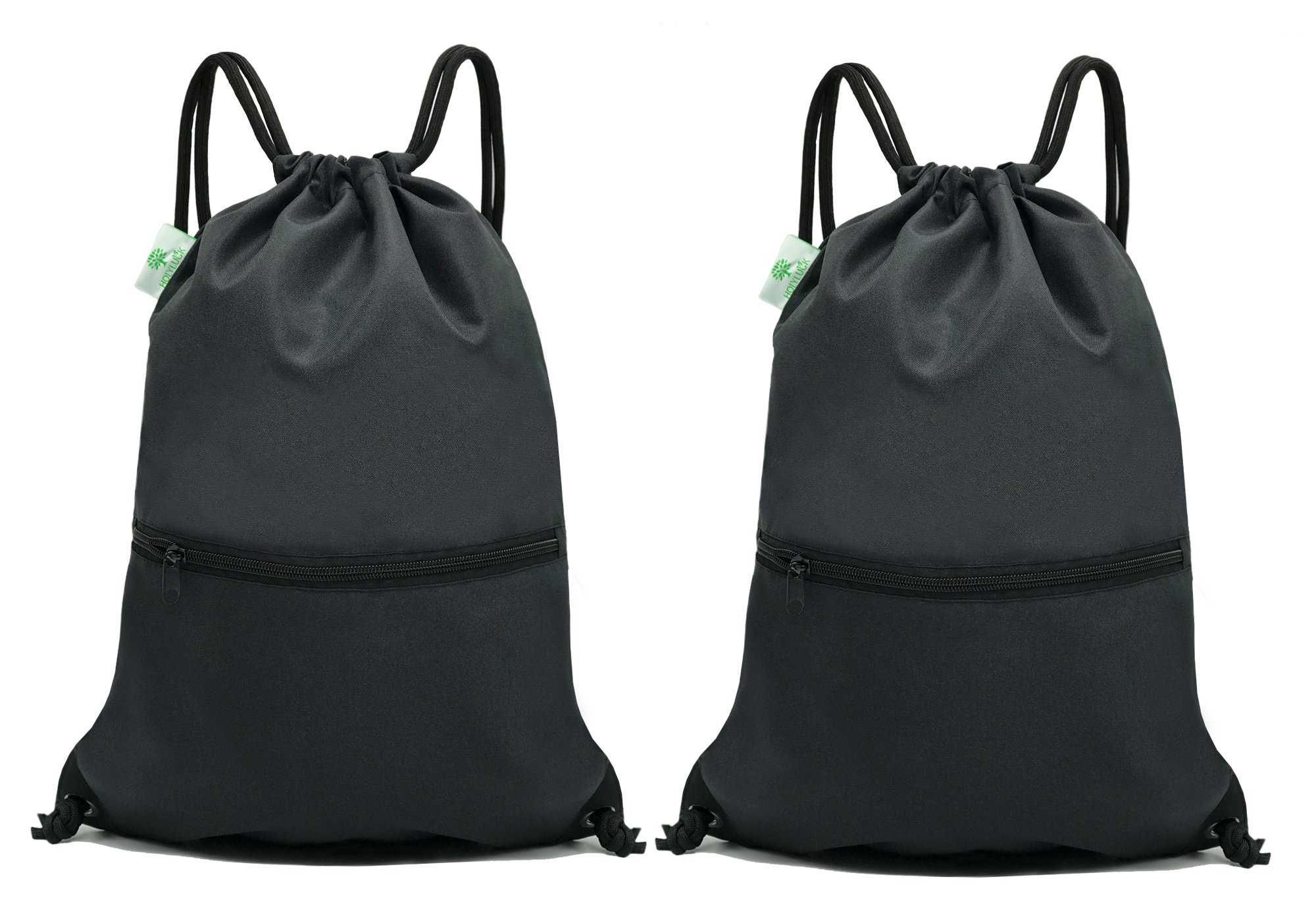 HOLYLUCK Men & Women Sport Gym Sack Drawstring Backpack Bag- 2black