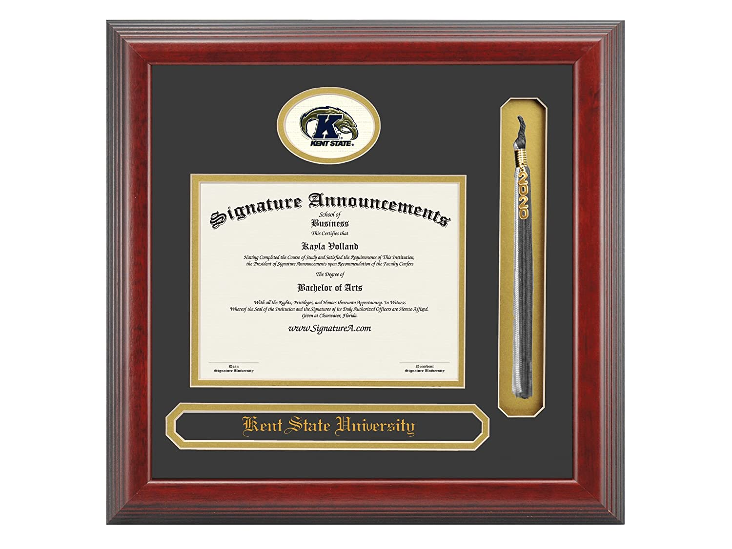 Name /& Tassel Graduation Diploma Frame 16 x 16 Cherry Signature Announcements Kent-State-University Undergraduate Sculpted Foil Seal