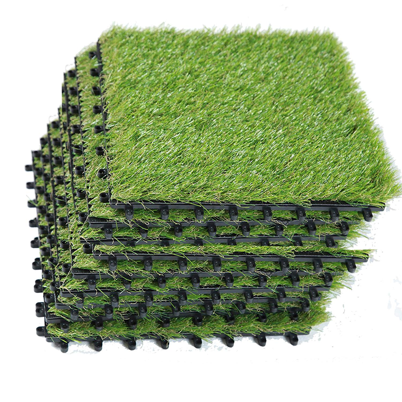 EcoMatrix Artificial Grass Tiles Interlocking Fake Grass Deck Tile Synthetic Grass Turf Green Lawn Carpet Indoor Outdoor Grass Tile Mat for Patio Balcony Garden Flooring Decor 1'x1' (9 Packs)