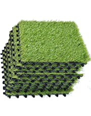 ECO MATRIX Artificial Grass Tiles Interlocking Fake Grass Deck Tile Synthetic Grass Turf Green Lawn Carpet Indoor Outdoor Grass Tile Mat for Patio Balcony Garden Flooring Decor 1'x1' (9 Packs)