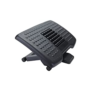 Mind Reader Adjustable Height Ergonomic Foot Rest with Massage Rollers, Black