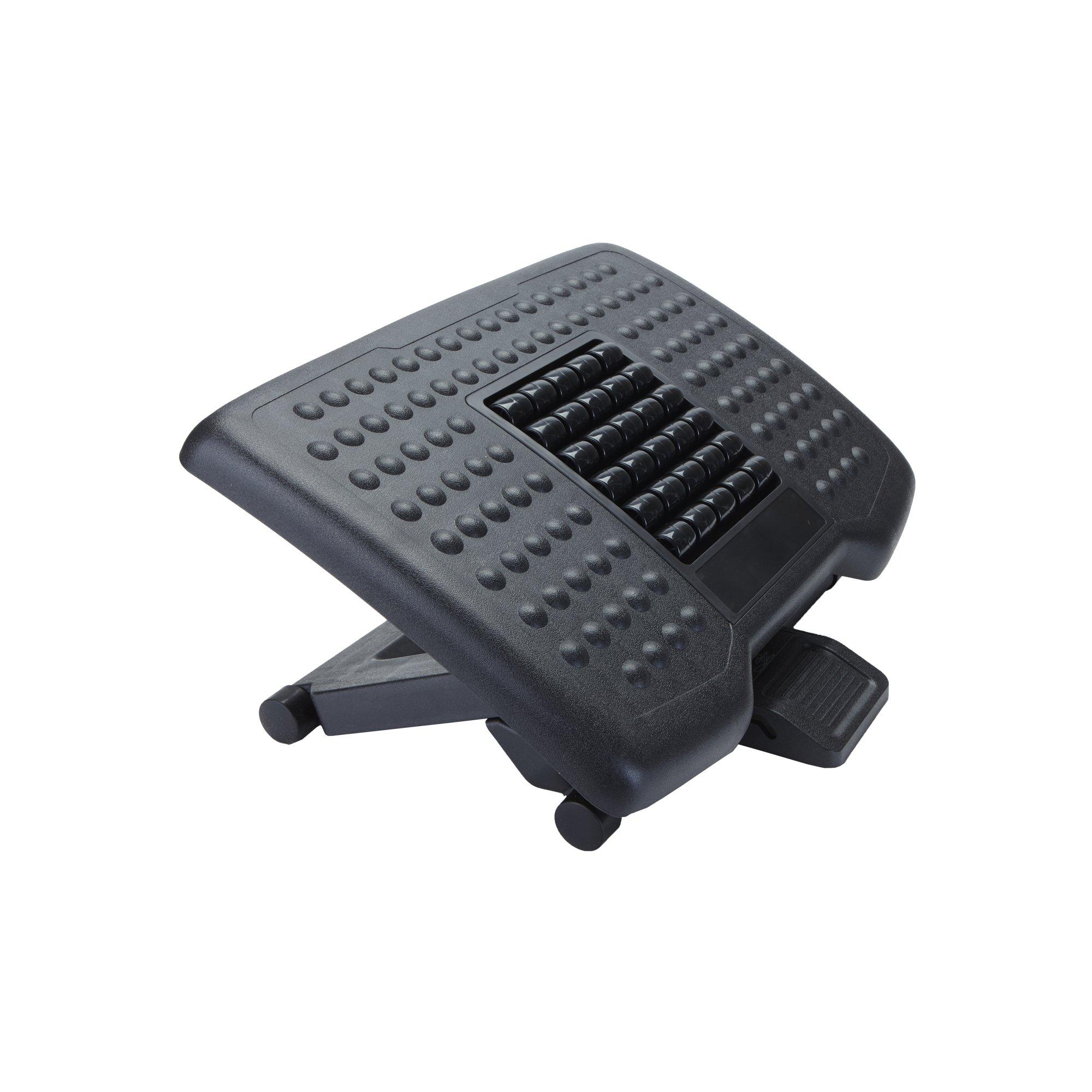 Mind Reader Adjustable Height Ergonomic Foot Rest with Massage Rollers, Black