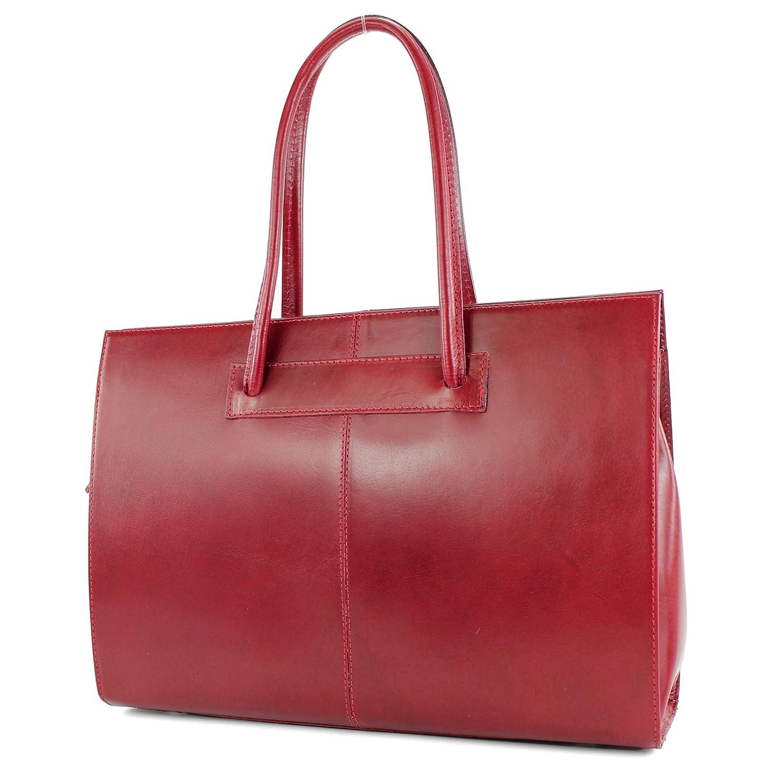 modamoda de - DS13 - ital Aktentasche Business DIN A4 Leder Farbe:Rot
