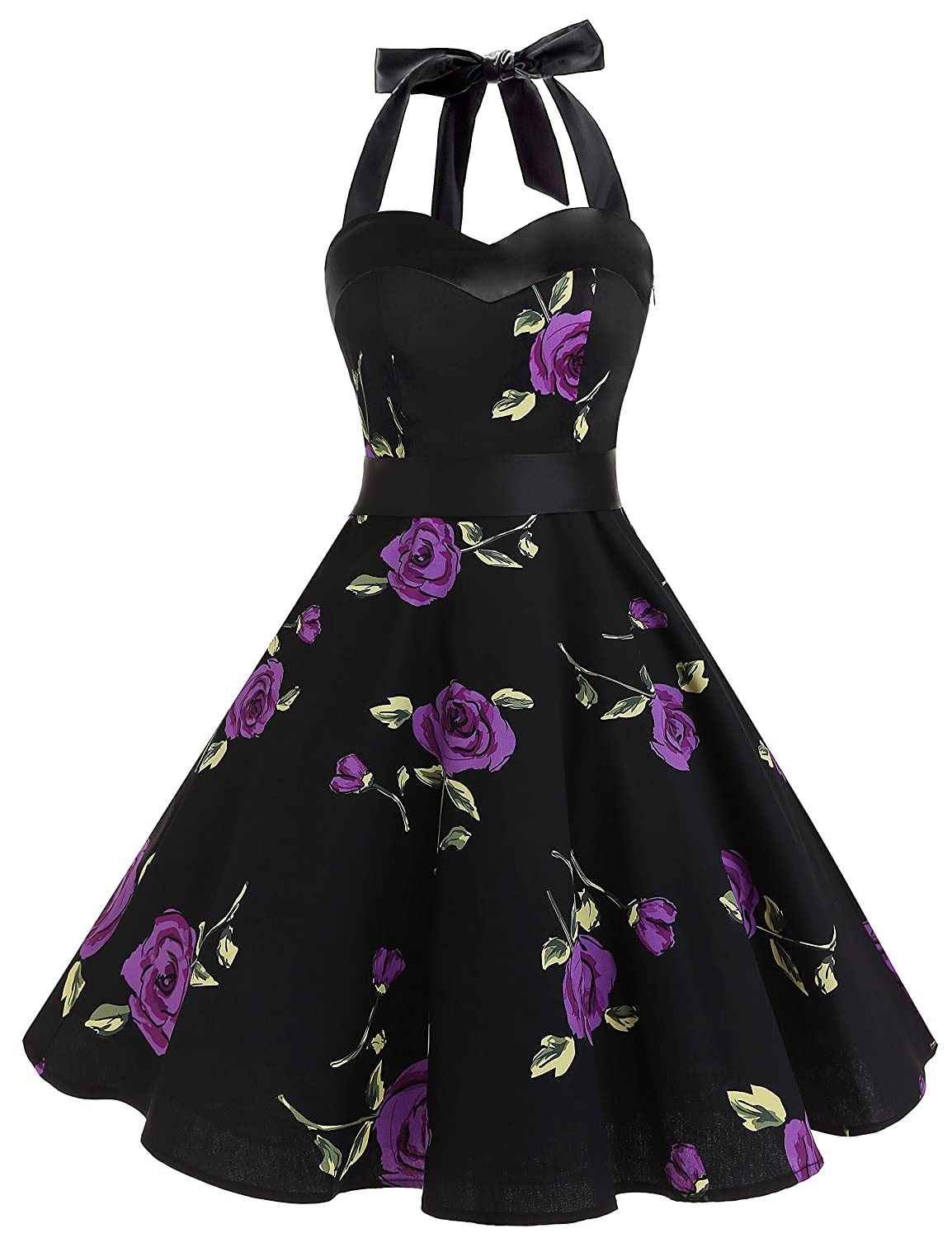 TALLA S. Dresstells® Halter 50s Rockabilly Polka Dots Audrey Dress Retro Cocktail Dress Purpleflower S