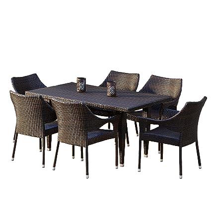 Amazon Com Great Deal Furniture 7 Piece Outdoor Wicker Dining Set