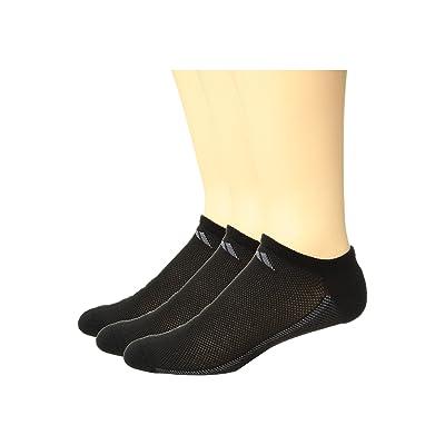 (アディダス) adidas メンズソックス・靴下 Climacool Superlite Stripe No Show Socks 3-Pack Black/Onix/Light Onix XL (Men's Shoe 12-16) (30-34cm) One Size