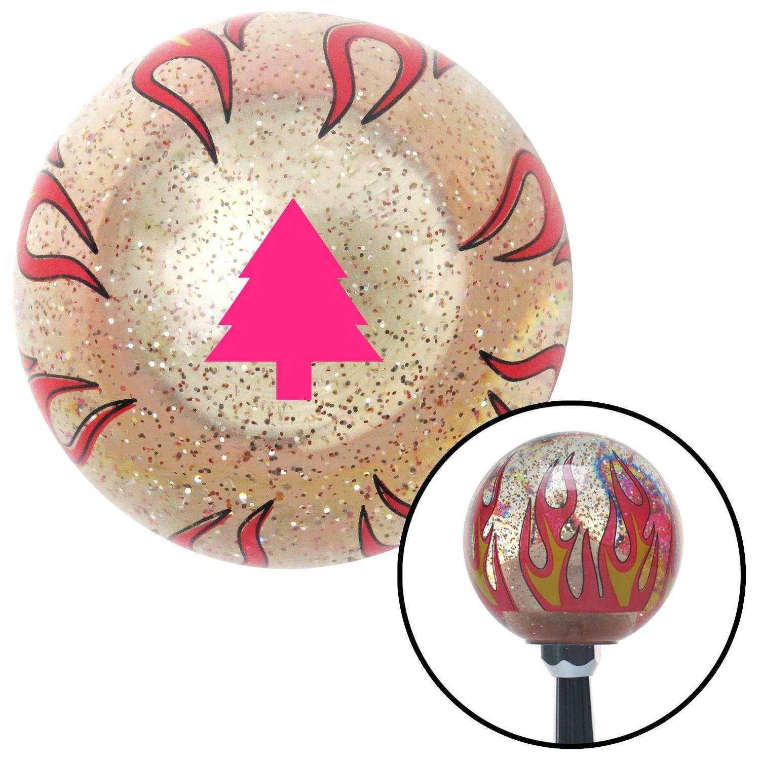 Pink Pine Tree Clear Flame Metal Flake with M16 x 1.5 Insert American Shifter 295553 Shift Knob