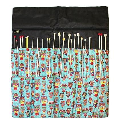 Knitting Needle Wrap Funky Owl Pattern Sewing Needle Folder Storage