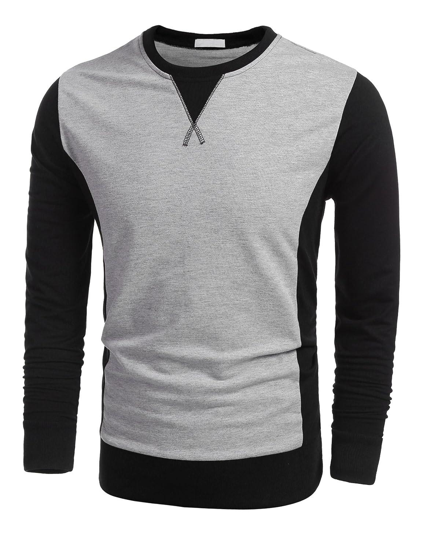 Misakia Men's Casual Long Sleeve Solid Sweatshirt Zip Detail Sleeve Zipper Pocket Pullover Sweats LUJ005482