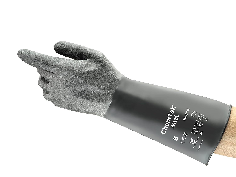 Schwarz Ansell ChemTek 38-514 Butyl//Viton Handschuhe Chemikalien- und Fl/üssigkeitsschutz 1 Paar pro Beutel Gr/ö/ße 7