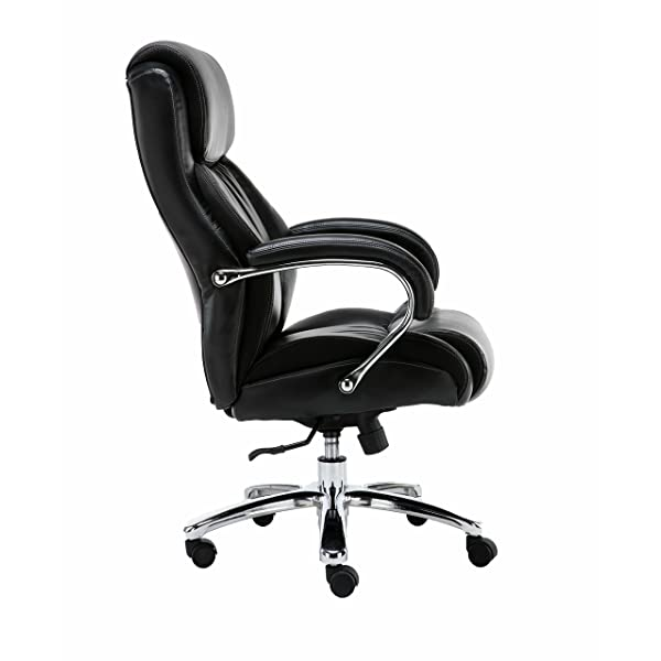 Big and Tall 500 pounds body weight support, Heavy duty shiny bonded leather, Executive black office chair, Swivel and tilt, Chrome arms with extra thick padding, height adjustment.