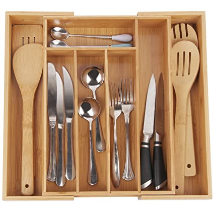 Kitchen Utensil Tray Organizer Amazon cutlery tray with 7 compartments used for drawer cutlery tray with 7 compartmentsused for drawer organizer and dividerperfect bamboo holder workwithnaturefo