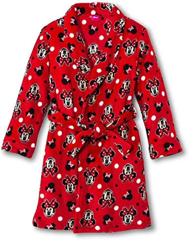 Amazon Com Disney Minnie Mouse Plush Bathrobe Bath Robe Pajama Girl Size S 7 8 Clothing