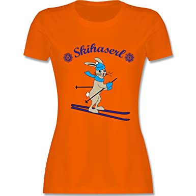 Shirtracer Wintersport - Skihaserl - XXL - Orange - L191 - Damen T-Shirt  Rundhals