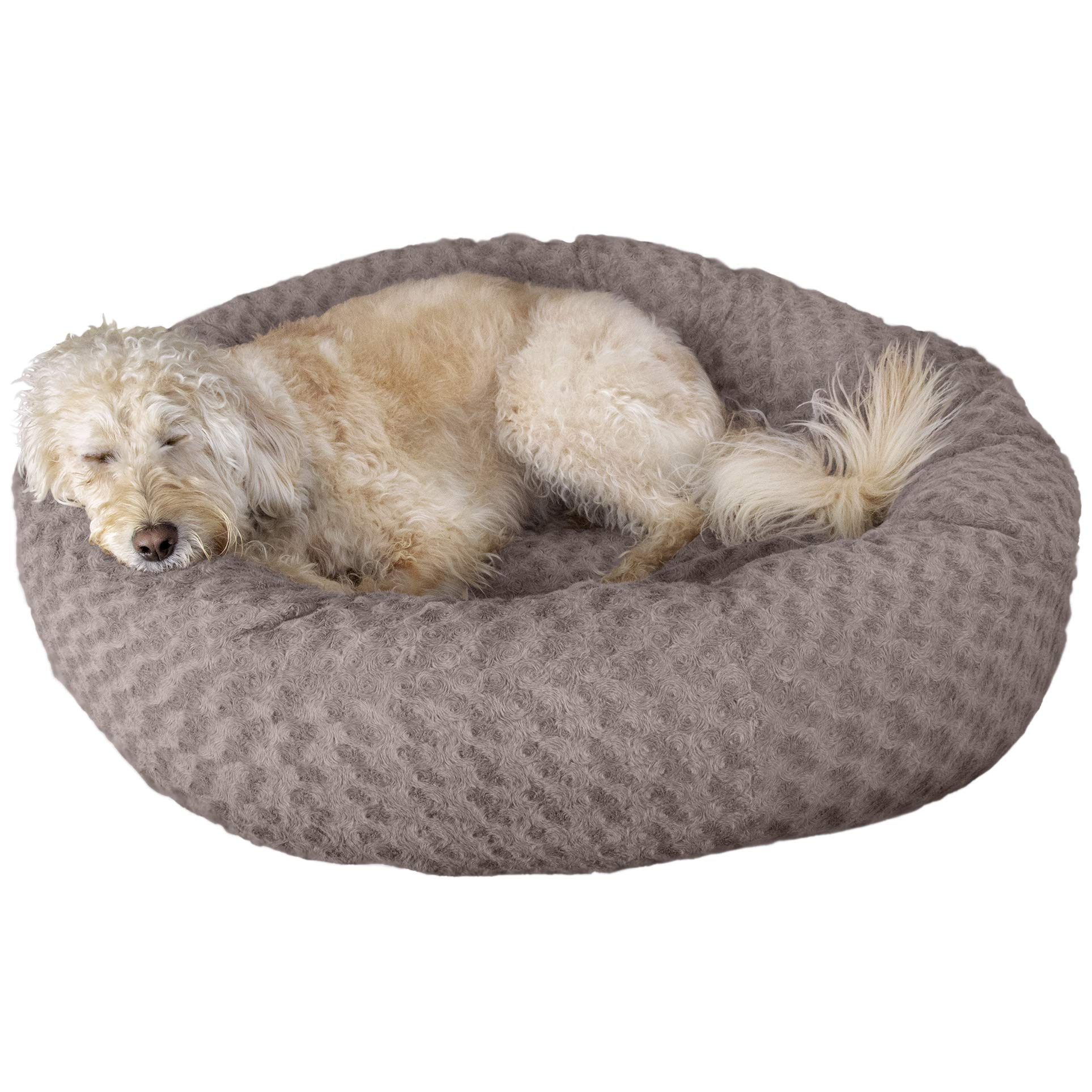 Furhaven Pet Dog Bed | Deep Dish Curly Faux Fur Refillable Ball Nest Cushion Donut Pet Bed w/ Removable Cover for Dogs & Cats, Cocoa Dust, Large by Furhaven