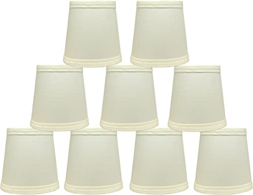 Urbanest Cotton Chandelier Lamp Shades, 4-inch, Hardback,Eggshell, Clip On Set of 9
